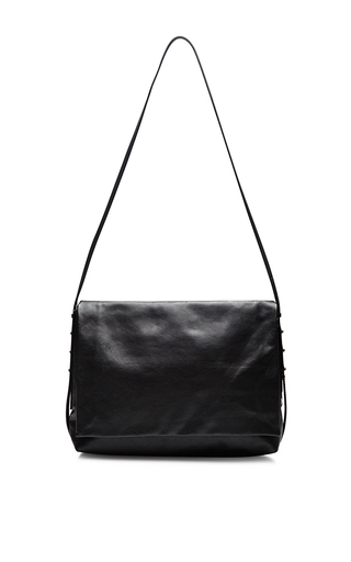 Medium rick owens black boxer soft top flap satchel