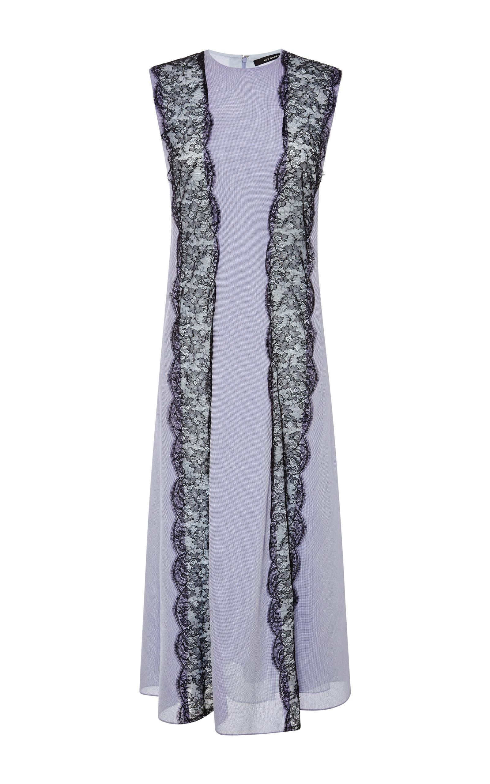bda91c54fa76 Sleeveless Banded Lace Dress by Wes Gordon | Moda Operandi