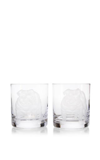 Medium artel white set of two double old fashioned dog collection bulldog