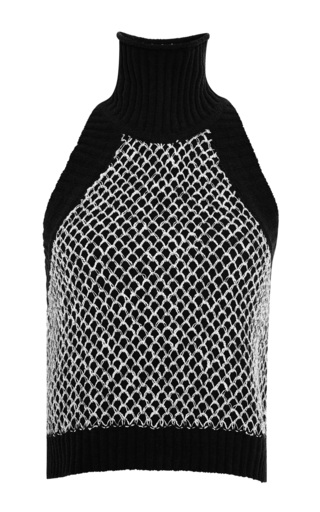 Medium jonathan simkhai white chenille fence crop knit