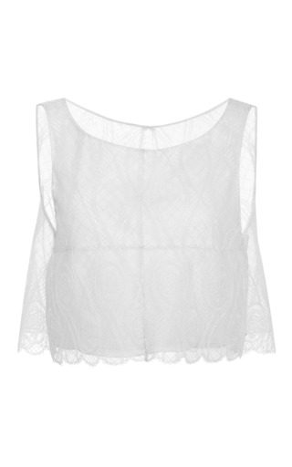 Medium honor white open back lace crop top