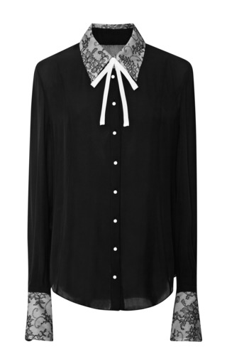 Medium honor black long sleeve blouse with chantilly lace collar and cuff