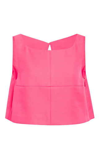 Medium honor pink open back crop top in neon pink
