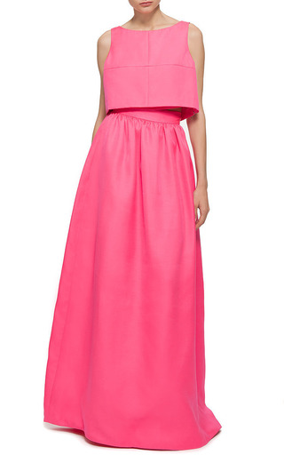 Honor Silk Wool Maxi Skirt In Neon Pink by HONOR for Preorder on Moda Operandi