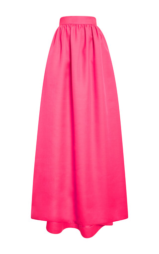 Medium honor pink silk wool maxi skirt in neon pink