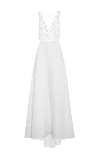 Medium honor white iridescent tweed gown with embellished bodice