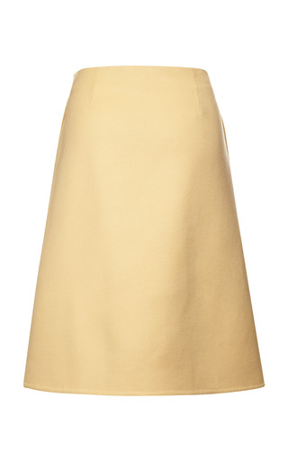 Double Wool Cashmere Skirt In Golden Yellow by ROCHAS for Preorder on Moda Operandi