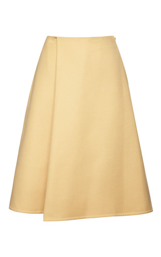 Medium rochas yellow double wool cashmere skirt in golden yellow