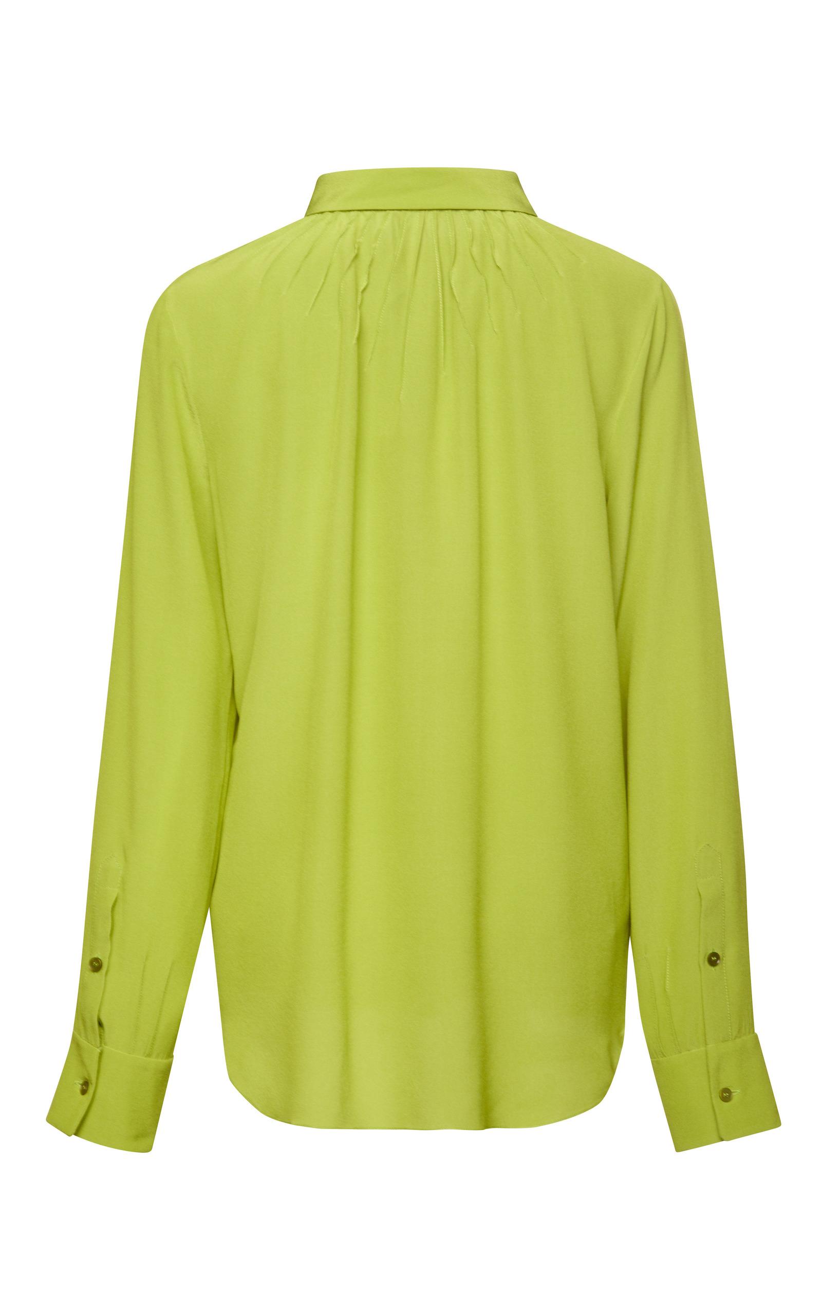 8f76134a347d2 Lime Green Pintuck Silk Chiffon Blouse