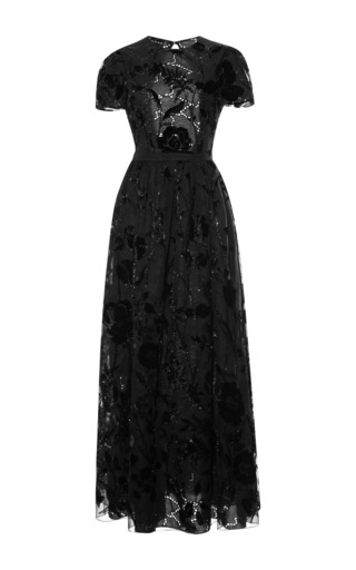 Medium rochas black sangallo lace open back dress with velvet flowers