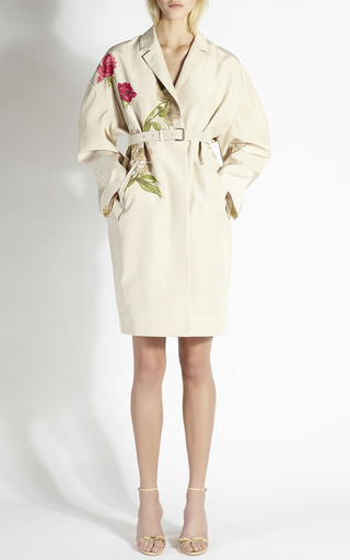 Rose And Peony Print Silk Faille Coat by ROCHAS Now Available on Moda Operandi