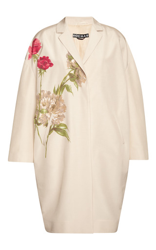 Medium rochas yellow rose and peony print silk faille coat