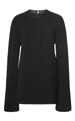 Medium rochas black black knit sweater with silk back