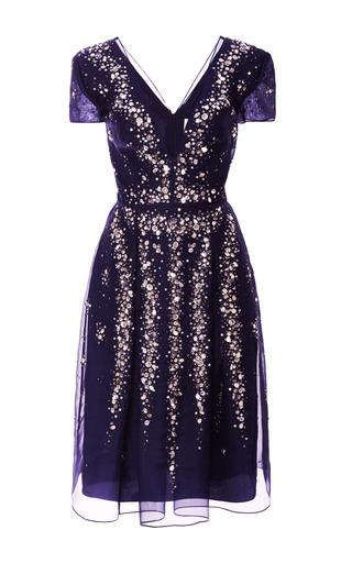 Medium carolina herrera blue embroidered v neck short sleeve cocktail dress