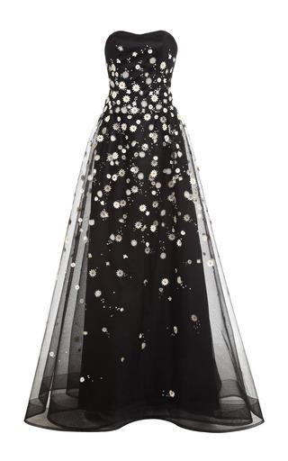 Medium carolina herrera white double layer daisy embroidered tulle gown