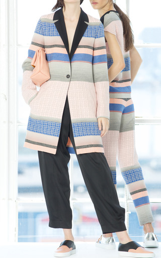 Fantasy Print Grey Stripe Jacquard Coat by CéDRIC CHARLIER for Preorder on Moda Operandi