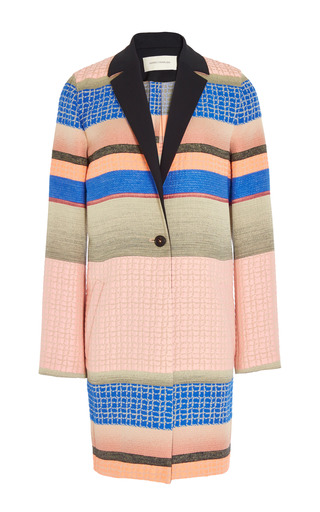 Fantasy Print Grey Stripe Jacquard Coat by CéDRIC CHARLIER for Preorder on Moda Operandi