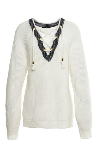 Medium tibi multi plaited half cardi sweater lace up pullover