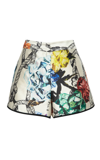 Medium tibi multi tattoo print on silk gazaar short