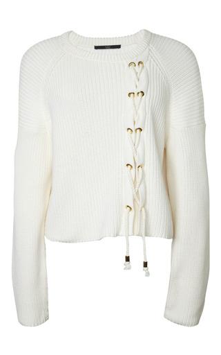 Medium tibi ivory plaited half cardi sweater cropped pullover 2