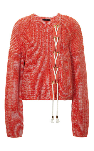 Medium tibi orange plaited half cardi sweater cropped pullover 3