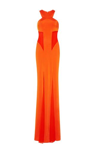 Medium cushnie et ochs orange jersey and mesh tangerine gown