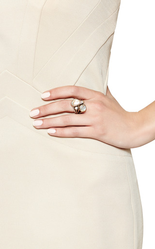 One Of A Kind 12 K Gold Ring With Pearl, Labradorite And White Topaz by SANDRA DINI for Preorder on Moda Operandi