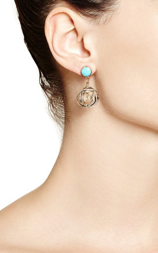 One Of A Kind 12 K Gold Earrings With Turquoise by SANDRA DINI for Preorder on Moda Operandi
