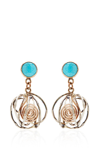 Medium sandra dini gold one of a kind 12k gold earrings with turquoise