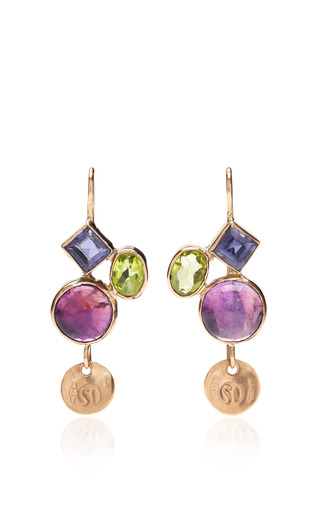 Medium sandra dini multi one of a kind 12k gold earrings with amethyst iiolite and peridot