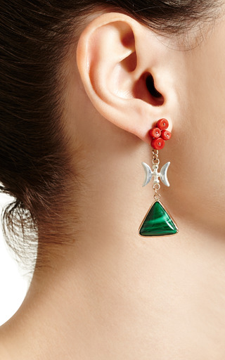 One Of A Kind 12 K Gold Earrings With Malachite And Coral by SANDRA DINI for Preorder on Moda Operandi