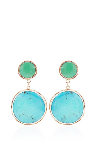 Medium sandra dini turquoise one of a kind 12k gold earrings with crysophrase and turquoise