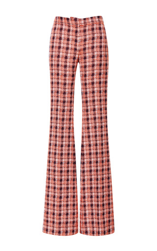 Medium derek lam multi orange plaid flared leg trousers