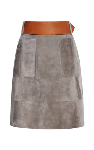 Medium derek lam dark grey elephante suede belted skirt