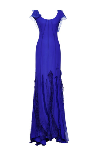 Medium nina ricci purple silk crepe gown 2