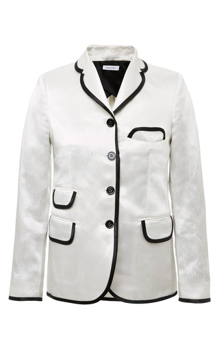 Little Boy 4 Button Short Coat In White Satin Linen With Dark Green Satin Lining by THOM BROWNE for Preorder on Moda Operandi