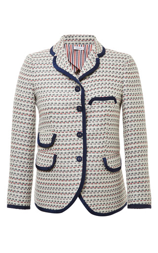 Little Boy 4 Button In Light Grey Graphic Weave Tweed Jacquard by THOM BROWNE for Preorder on Moda Operandi
