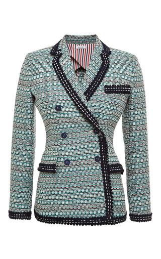 Db Nipped Waist Short Coat In Light Green Melange Weave Tweed Jacquard by THOM BROWNE for Preorder on Moda Operandi