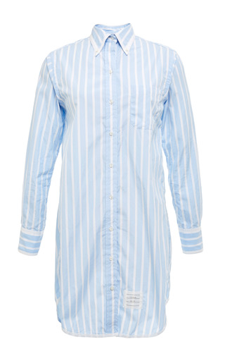 Long Sleeve Classic Long Shirt Dress In Light Blue With White Stripes by THOM BROWNE for Preorder on Moda Operandi