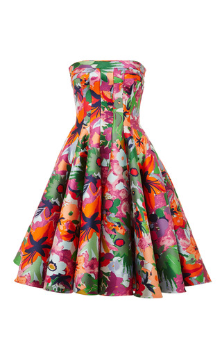 Medium thom browne floral strapless flared front paneled dress in multi color jungle floral jacquard