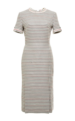 Crew Neck Four Vent Dress In Light Grey Graphic Weave Tweed by THOM BROWNE for Preorder on Moda Operandi