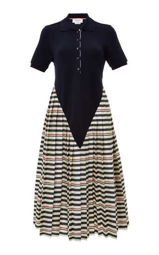 Navy Deep V Polo Dress With Pleated Skirt In Navy/White Stripe by THOM BROWNE for Preorder on Moda Operandi