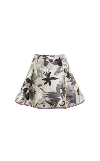 Four Pleat Mini Skirt In Tonal Grey Jungle Floral Scuba Jacquard by THOM BROWNE for Preorder on Moda Operandi