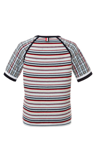 Seed Stitch Short Sleeve Raglan Crewneck T Shirt In Rwb Stripe by THOM BROWNE for Preorder on Moda Operandi