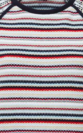Seed Stitch Short Sleeve Raglan Crewneck T Shirt In Rwb Stripe by THOM BROWNE for Preorder on Moda Operandi