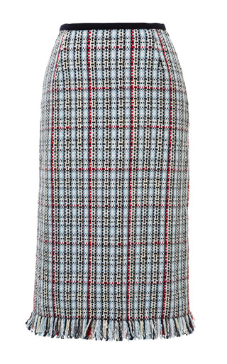 Woven Geometric Tweed Plaid Pencil Skirt In Rwb Cotton by THOM BROWNE for Preorder on Moda Operandi
