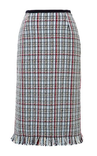 Woven Geometric Tweed Plaid Pencil Skirt In Rwb Cotton by THOM BROWNE for Preorder on Moda Operandi