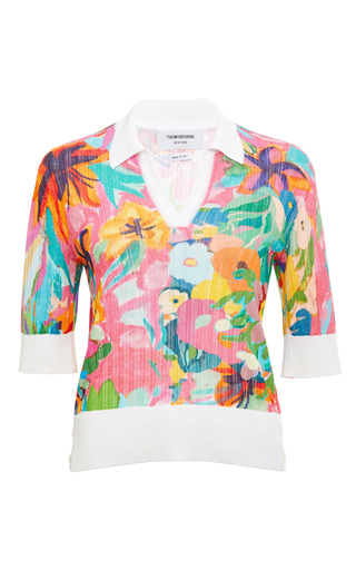 Fine Open Rib Stitch Short Sleeve Polo In Multi Color Jungle by THOM BROWNE for Preorder on Moda Operandi