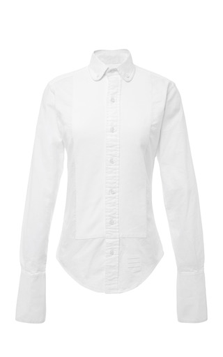 Long Sleeve Round Collor Shirt With Pique Bib And French Cuffs by THOM BROWNE for Preorder on Moda Operandi