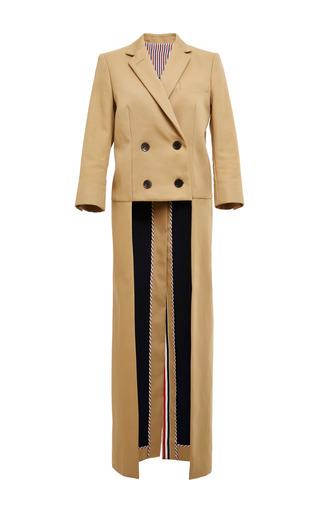 Back Drop Overcoat In Khaki Mackintosh by THOM BROWNE for Preorder on Moda Operandi